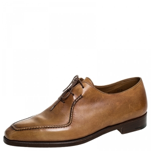 Berluti Cognac Brown Leather Stitch Detail Oxfords Size 40.5