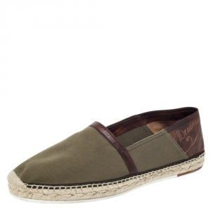 Berluti Olive Green Canvas and Brown Leather Trimmed Espadrilles Loafers Size 44