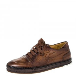 Berluti Brown Ombre Leather Playtime Low Top Sneakers Size 44.5