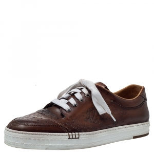 Berluti Brown Ombre Leather Playtime Low Top Sneakers Size 43