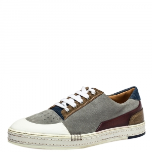 Berluti Multicolor Suede And Leather Low Top Sneakers Size 43.5