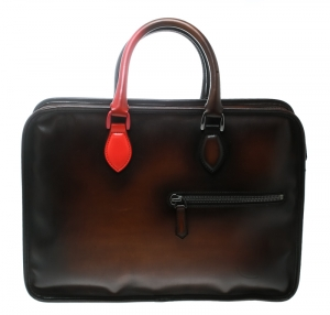 Berluti Dark Brown Ombre Leather Un Jour Venezia Briefcase