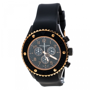 Bernhard H. Mayer Black & Rose Gold Plated Stainless Steel Hugo Chronograph Men's Wristwatch 48 mm