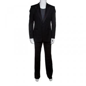Boss by Hugo Boss Black Wool Satin Trim Detail Cary/Grant Suit L