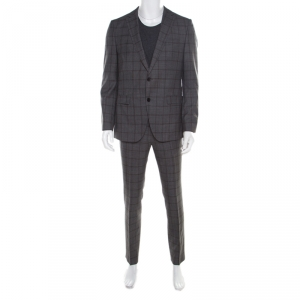 Boss by Hugo Boss Grey Plaid Checked Wool Novan/Ben Slim Fit Suit L