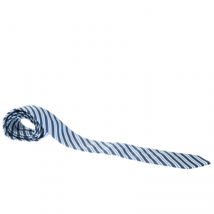 Boss By Hugo Boss Blue Diagonal Striped Silk Tie