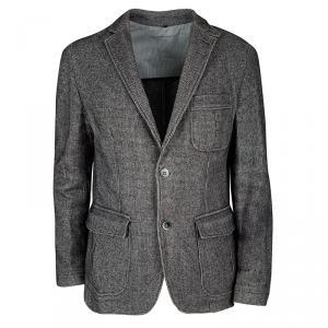Boss By Hugo Boss Grey Houndstooth Pattern Slim Fit Tailored Blazer L