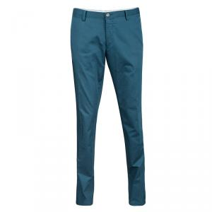 Boss by Hugo Boss Teal Blue Cotton Tailored Pants XL