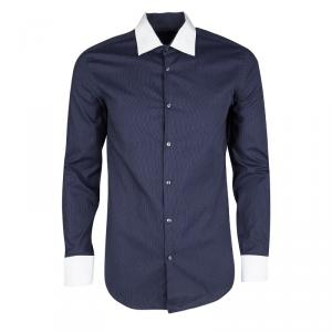 Boss By Hugo Boss Navy Blue Dotted Long Sleeve Slim Fit Jonnes Shirt S