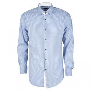 Boss By Hugo Boss Blue and White Checked Stretch Cotton Slim Fit Juri Shirt L