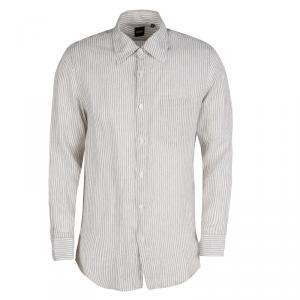 Boss By Hugo Boss White and Brown Striped Linen Long Sleeve Button Front Shirt M