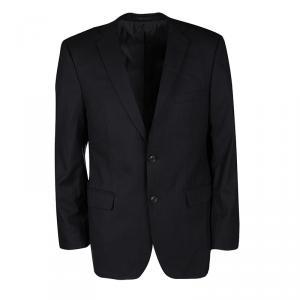 Boss by Hugo Boss Black Pinstriped Wool Tailored Two Button Blazer XXL