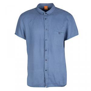 Boss Orange By Hugo Boss Blue Linen Short Sleeve Button Front Shirt XL