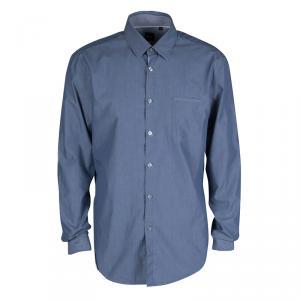 Boss By Hugo Boss Blue Cotton Long Sleeve Button Front Slim Fit Shirt XL
