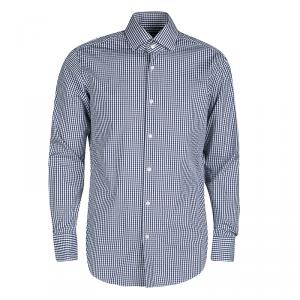 Boss By Hugo Boss Navy Blue and White Checked Cotton Gerald Shirt L