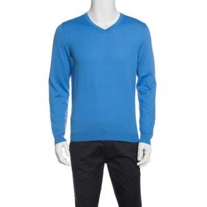 Boss By Hugo Boss Blue Extra Fine Merino Wool Slim Fit Baku-B Sweater M - used