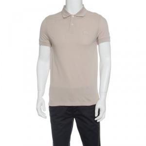 Boss By Hugo Boss Beige Pima Cotton Honeycomb Knit Polo T-Shirt L - used