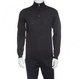 Boss By Hugo Boss Grey Extra Fine Merino Wool Zip Detail Sweater M - used