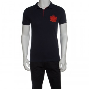 Boss By Hugo Boss Navy Blue Pima Cotton Logo Embroidered Polo T-Shirt L - used