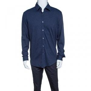 Boss By Hugo Boss Blue Melange Jersey Long Sleeve Button Front Shirt XXL