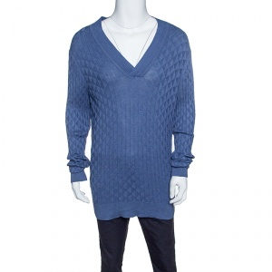 Boss By Hugo Boss Blue Silk Knit Ribbed Trim Slim Fit Lipani Sweater XXL