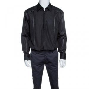 Boss by Hugo Boss Black Cotton Ribbon Panel Detail Button Front Shirt XL