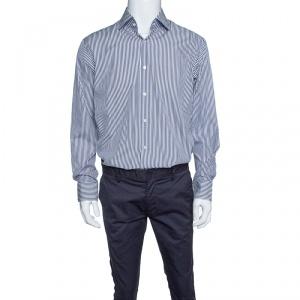 Boss by Hugo Boss Navy Blue and White Striped Cotton Long Sleeve Gerald Shirt XL