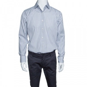 Boss By Hugo Boss Checkered Cotton Regular Fit Button Front Shirt M - used