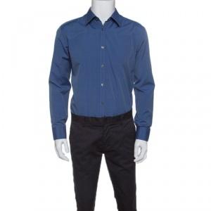 Boss By Hugo Boss Blue Cotton Long Sleeve Button Down Slim Fit Shirt XL