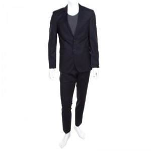 Boss By Hugo Boss Navy Blue Self Checked Wool Tailored Suit M