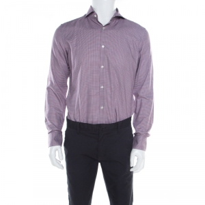 Boss By Hugo Boss Multicolor Houndstooth Printed Cotton Dwayne Slim Fit Shirt M - used