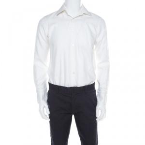 Hugo by Hugo Boss White Herringbone Long Sleeve Regular Fit Shirt S - used