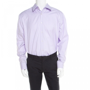 Boss By Hugo Boss Purple Striped Two Ply Regular Fit Shirt 4XL - used
