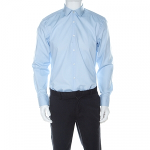 Boss By Hugo Boss Sky Blue Cotton Poplin Jason Slim Fit Shirt XL