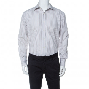 Boss by Hugo Boss White Striped Cotton Button Front Shirt L - used