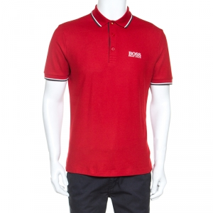 Boss by Hogo Boss Red Knit Modern Fit Polo T-Shirt M