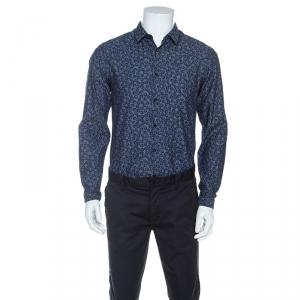 Boss By Hugo Boss Bicolor Printed Bersh Slim Fit Shirt M - used