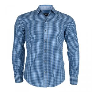 Boss By Hugo Boss Blue Jacquard Dobby Checked Slim Fit Cotton Shirt S