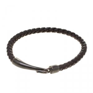 Bottega Veneta Brown Intrecciato Woven Leather Single Hook Bracelet
