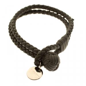 Bottega Veneta Grey Intrecciato Leather Double Strand Knot Bracelet