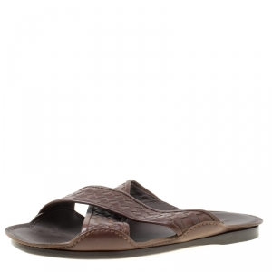 Bottega Veneta Brown Intrecciato Leather Cross Strap Sandals Size 42