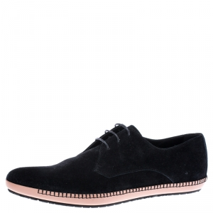 Bottega Veneta Black Suede BV Fellows Pointed Toe Lace Up Derby Size 44