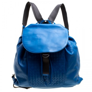 Bottega Veneta Blue Intrecciato Leather Drawstring Backpack