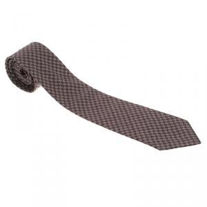 Bottega Veneta Burgundy Houndstooth Speckled Print Tie