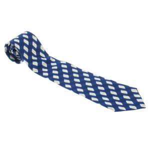 Bottega Veneta Blue and White Printed Amethyst Silk Tie