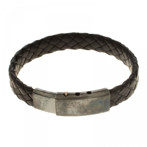 Bottega Veneta Black Intrecciato Woven Leather Silver Bracelet