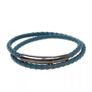 Bottega Veneta Blue Intrecciato Woven Leather Double Wrap Bracelet
