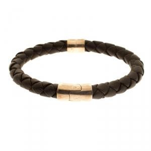 Bottega Veneta Brown Woven Leather Silver Narrow Bracelet