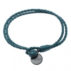 Bottega Veneta Teal Blue Intrecciato Nappa Leather Double Strand Bracelet M
