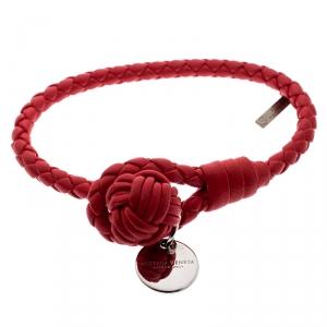Bottega Veneta Intrecciato Red Nappa Leather Single Strand Bracelet S